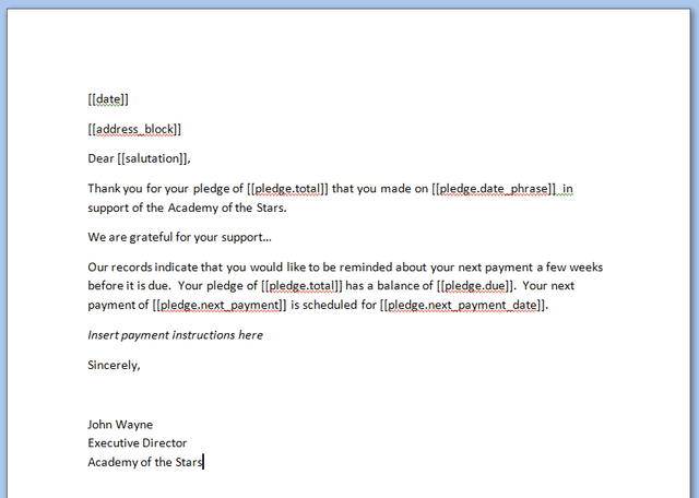 Sending pledge reminders or invoices little green light knowledge base mscreenshot0g spiritdancerdesigns